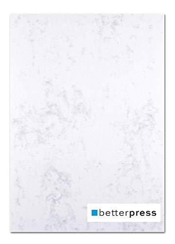 Betterpress® 50 Blatt Marmorpapier grau 120g, A4 - Beidseitig Marmoriertes Papier in hochwertiger Qualität - Premium Briefpapier ideal als Speisekarte, Zertifikat und Urkunde