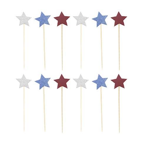NUOBESTY Sterne Formen Glitter Cake Topper für Unabhängigkeitstag 4. Juli Party Supplies, 100pcs -