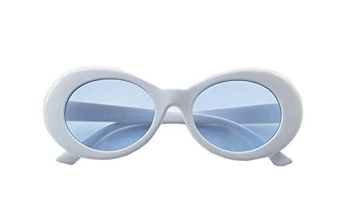 FOURCHEN Sunglass für Frauen Männer, Bold Retro Oval Mod dicken Rahmen Sonnenbrille Runde Linse Clout Goggles (white blue)