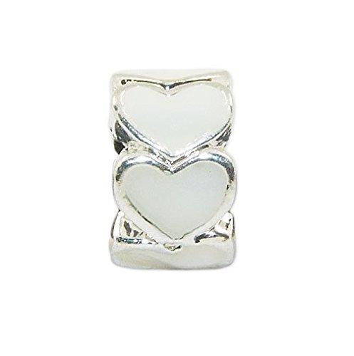 r Bead mit 7 weißen Herzen - Element Kugel für European Beads + Organzasäckchen ()