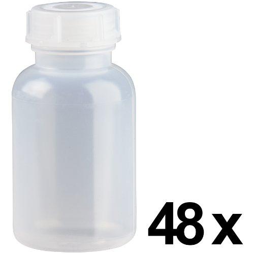 48 x 250ml Weithalsflasche / Laborflasche Naturfarben aus LDPE inkl. Schraubverschluss *** Weithalsflaschen, Laborflaschen, Plastikflasche, Kunststoffflasche, Plastikflaschen, Kunststoffflaschen ***