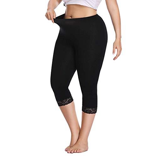 Setsail Damen Plus Size Mode Hosen Capri Cropped Leggings Stretch Lace Trim weiche Strumpfhosen Hosen -