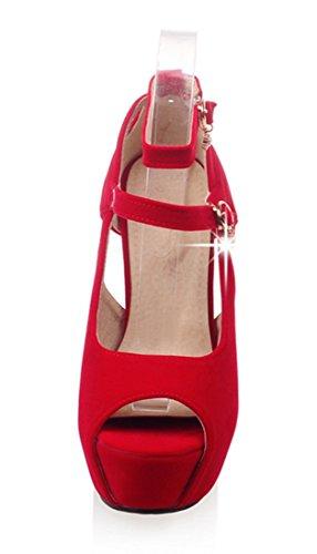 YE Damen Peep Toe Ankle Strap High Heels Stiletto Pumps mit Schnalle Moderne Elegant Sandalen Schuhe Rot
