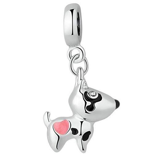 Marni's - Abalorio chapado en plata, perro decorado con un corazón rosa - Cuentas para pulseras y collares estilo europeo. Regalo del día de la madre, cumpleaños para mujeres y niñas
