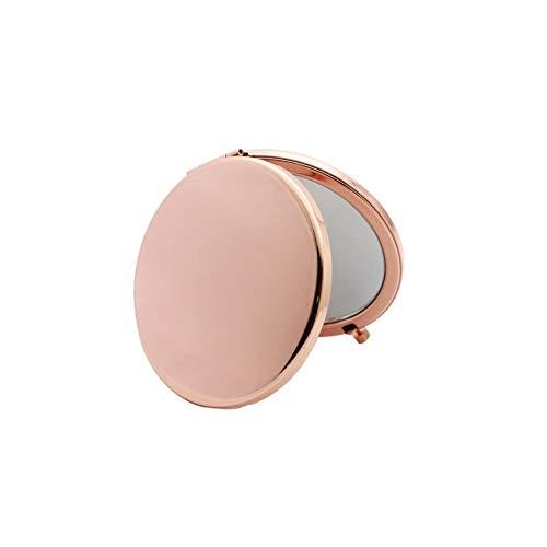 Aibuty Kompaktspiegel Schminkspiegel Mini Round Handkosmetikspiegel Travel Portable 180 ° Faltbarer Kosmetikspiegel (Color : Rose Gold)