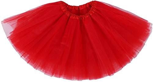 Tanzen Damen 9 Kostüm - Ruiuzi Damen Tütü Rock Minirock 4 Lagen Petticoat Tanzkleid Dehnbaren Mini Skater Tutu Rock Erwachsene Ballettrock Tüllrock für Party Halloween Kostüme Tanzen (Rot)