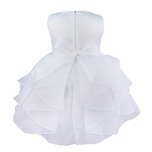 iEFiEL Babybekleidung Baby-Mädchen Prinzessin Kleid Festzug Taufkleid Hochzeit Partykleid Weiß 62-68 (Herstellergröße:60) - 2