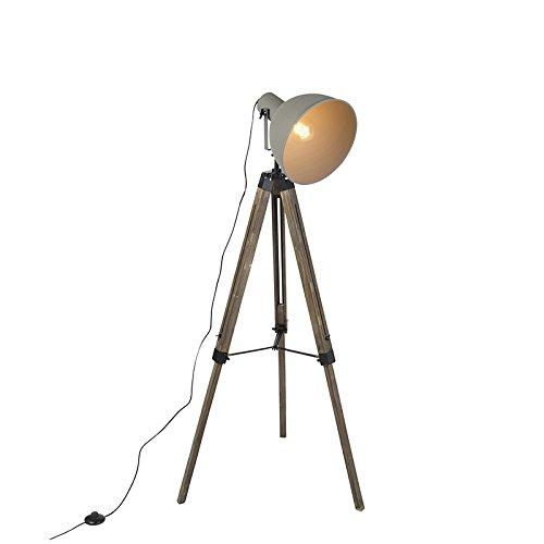 strial Stehleuchte/Stehlampe/Standleuchte/Lampe/Leuchte im Industriestil Holz Stativ mit grauem Lampenschirm - Laos/Innenbeleuchtung/Wohnzimmerlampe/Schlafzimmer / ()