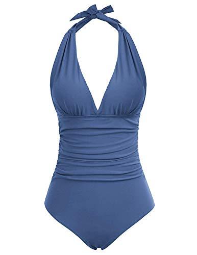 Zexxxy Sexy Badeanzug Damen Einteilige Monokini Halfter Verstellbar Schultergurt Badeanzüge Falten Bademode Schwimmanzug Blau M(EU 40) (Falten Sie über Badeanzug)