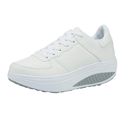 Wedges Sneakers Für Damen/Dorical Frauen Plateau Schnürer Sneakers mit Keilabsatz Fitnessschuhe Sportschuhe Atmungsaktive Laufschuhe Outdoor Freizeitschuhe Turnschuhe Ausverkauf(Weiß,36 EU)