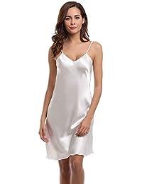 5d1827d3bc41c Aiboria Chemise de Nuit Femme Sexy Nuisette Satin V Profond Sling Robe de  Nuit