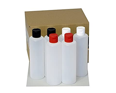 6 x 250 ml Octopus plastic bottles, HDPE plastic bottles with colorful flip-top cap, empty bottles with colorful hinged cap, round bottles incl. 6