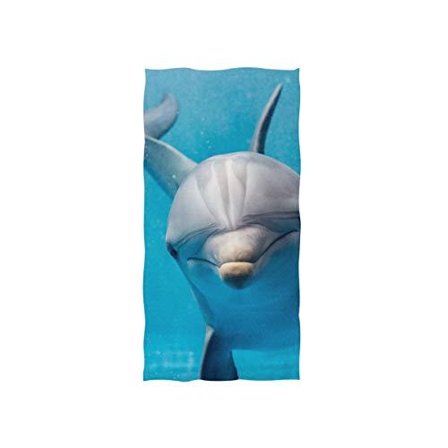 Delphin Ozean Freund Weiche Spa Strand Badetuch Fingerspitze Handtuch Waschlappen Für Baby Erwachsene Bad Strand Dusche Wrap Hotel Travel Gym Sport 30x15 Zoll (Bad Handtücher Ozean)