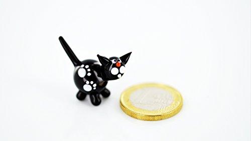 Katze Schwarz Mini - Miniatur Glasfigur Weiße Samtpfote - Figur aus Glas schwarze Katze Kätzchen Spitzohr - Glasfigur Glastier Deko Setzkasten Vitrine Glückskatze -