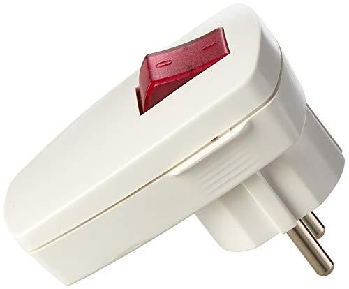Bachmann BACH Schutzkontaktstecker 911.273 Schutzkontakt-Winkelstecker mit Kontrollschalter in Weiss, 250 V - Weiß Kontrollschalter