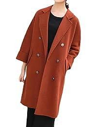 287c32fae4b47 Vinyst Women s Notch Lapel Fleece Long Double Breasted Slim Duffle Coat