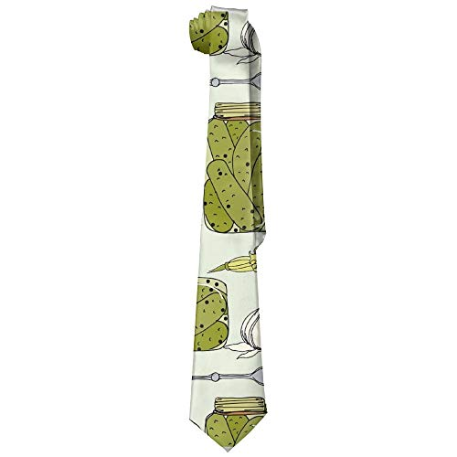 es Pickles(8659) Man's Wide Necktie Silk With Skinny Tie Print Necktie Great For Weddings,Groom,Groomsmen,Missions,Dances,Gifts ()