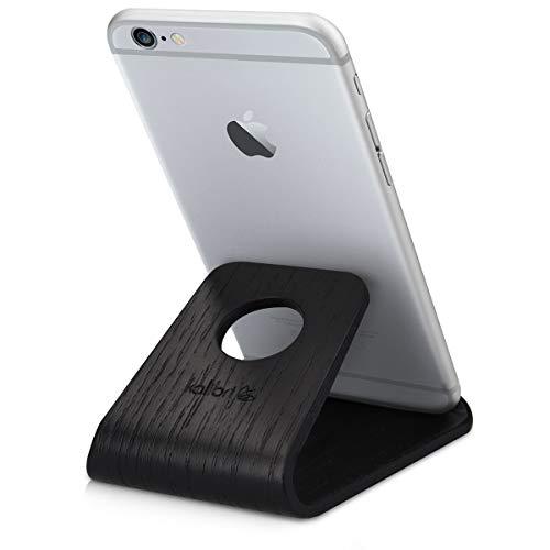 kalibri Handy Halterung Smartphone Ständer - Universal Halter kompatibel/Ersatz für iPhone Samsung iPad Tablet u.a. - Tisch Stand Dock Eichenholz - Schwarz