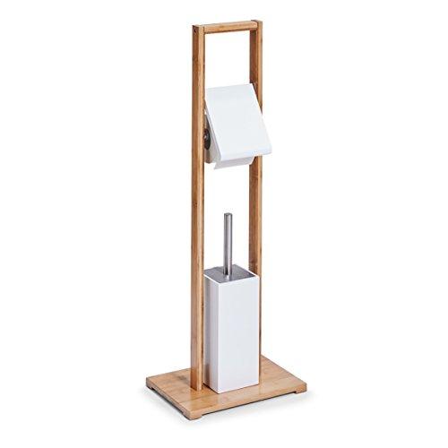 zeller-18636-dispensador-de-papel-higienico-con-escobilla-bambu-mdf-blanco