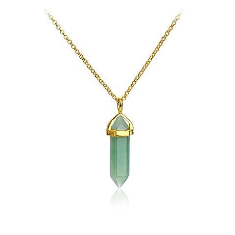 IPINK Gold Tone Natural Hexagonal Pile Gemstone Crystal Pendant Necklace