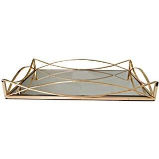 New Decorative Gold Metal Rectangular Serving/Dressing Table Tray with Mirror Glass Base (AR5 Gold)
