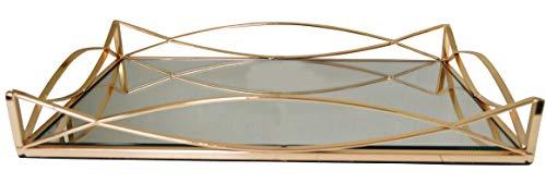 Annalise Dekoratives Tablett aus Metall, rechteckig, mit Spiegelglassockel, goldfarben (AR5 Gold) Gold-tablett