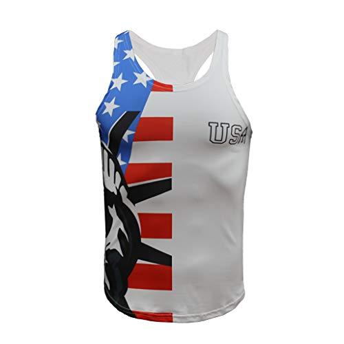 Knowin-T Shirt Gym Fitness stärker Herren - Funktionelle Sport Bekleidung - Geeignet Für Workout, Training - Tank Top mit Amerikanische Flagge Muster Tag der Unabhängigkeit