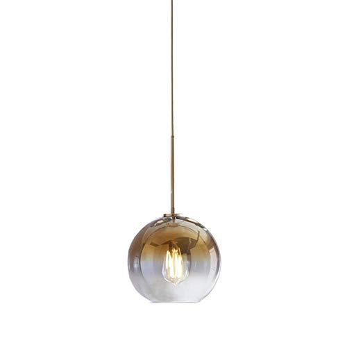 Gold-runde Glas-esstisch (Modern Design Runde Pendelleuchte Hängeleuchte Esstisch Lampe Farbverlauf Glas Lampenschirm, E27 Schraubenhalter Glaskugel Licht Wohnzimmer Esszimmer Kronleuchter Schatten Ion Champagner Gold, Ø20CM)
