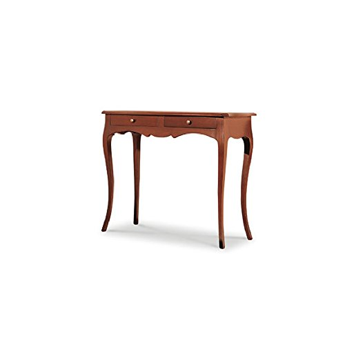 Tavolino con consolle, arte povera, in legno massello e mdf con rifinitura in noce lucido - mis. 96 x 41 x 80