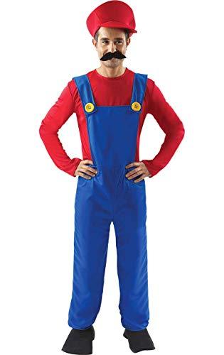 Erwachsener Herren Super Mario Bros Klempner Kostüm Kostüme Anzug Standard