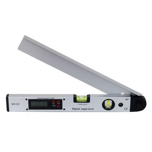 AGPtek Rapporteur numérique 0°-225° Digital Niveau A Bulle Pratique - LCD Electronique Outil Tubulaire En Aluminium Viseur d'angle mesureur d'angle 400mm (Argent)
