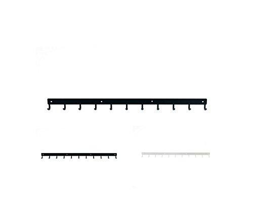 Perchero de metal, barra grande de 80 cm, estante de pared con 11 ganchos para colgar ropa, llaves, organizador, oficina, puerta, casa, jardín, garaje, baño, acero sólido, resistente