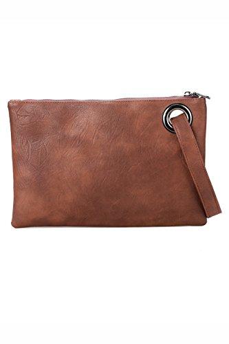 Pochette-All4you moda donna solida pochette borsa in pelle sintetica busta borsa frizione (rosso) Marrone