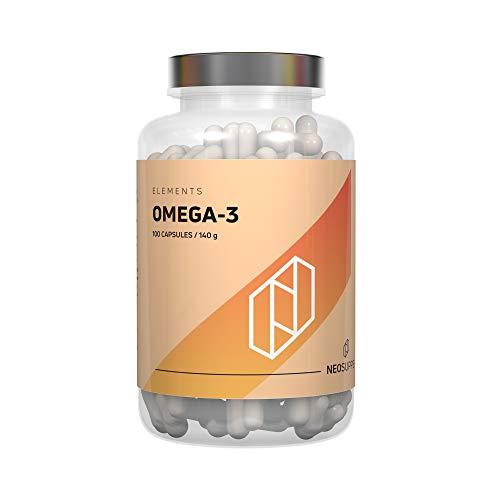 Omega 3 Kapseln hochdosiert | Gesunde Fisch-Öl Kapseln aus essentiellen Fettsäuren und Lebertran ohne fischigen Nachgeschmack, gut verträglich und reich an EPA & DHA | Neosupps Omega-3 - 100 Caps