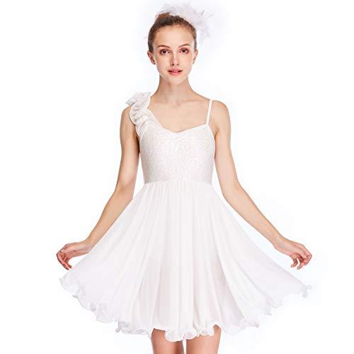 MiDee Hemdchen, Oder So Was Ein Schulter Verstimmen Pailletten Lyrische Kleid Tanz Kostüm (Elfenbein, ()