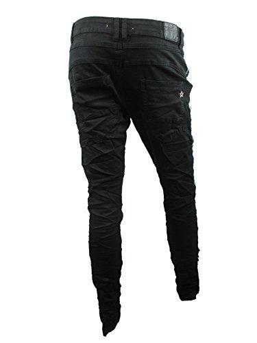 Lexxury Baggy Boyfriend Damen Stretch Hose Knopfleiste Seiten-Streifen schwarz Tiefschwarz