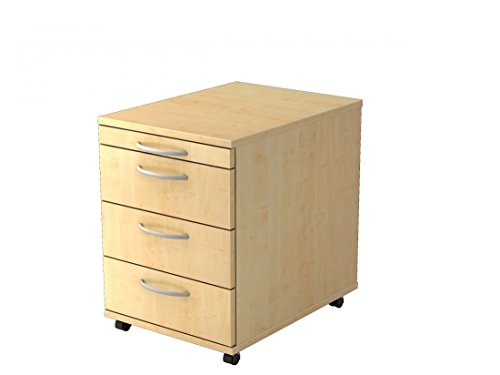 DR-Büro Rollcontainer - 3 Schubladen und 1 Materialschubfach - Container in 4 Farben, Farbe Büromöbel:Ahorn -