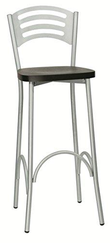 sgabello moderno da bar sedia alta con seduta in polimerico pvc plastica per cucina palissandro lar.