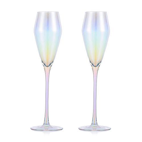 2 Stück Crystal Champagner Flöten, Spezielle Regenbogen Rotwein Oder Weißwein Glas Set Von 2 - Einzigartiges Geschenk Für Hochzeit, Jubiläum, Weihnachten, Geburtstag - 7.43oz, 100% Bleifreier Kristall