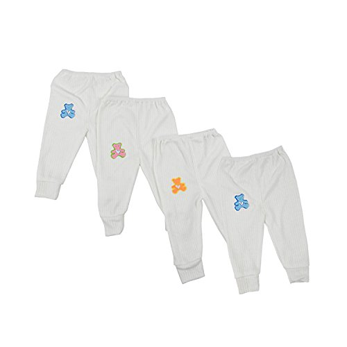 Kuchipoo Baby Boys 100% Hosiery Thermal Warmer Pajamas for Winters Pack of 4 (KUC-PAJ-101_0 to 6months_White_3-6 Months)
