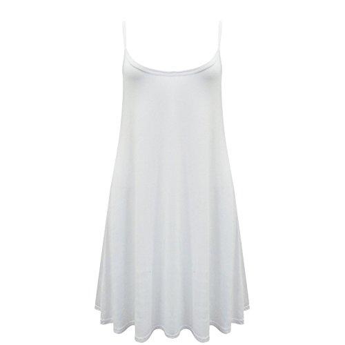 Caraco Femme Swing Robe Évasée Veste De Dames Sans Manche Uni Haut Grande Taille Skater Blanc