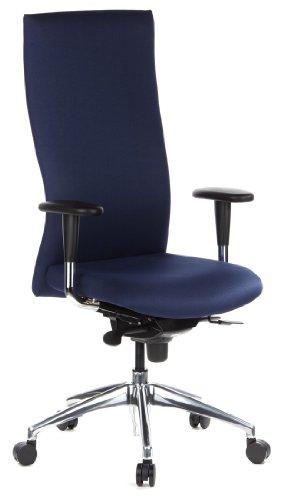 hjh OFFICE 710502 High End Bürostuhl OFFICE-TEC Stoff Blau Chefsessel, hohe Rückenlehne, Armlehne & Sitztiefe verstellbar