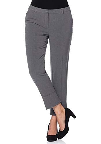 Sheego Hose Damen-Bundfaltenhose Stretch Kurzgröße Business-Hose Grau, Größenauswahl:42 (21 Kurzgröße)