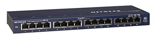 Netgear GS116GE 16-Port Gigabit Ethernet LAN Switch Unmanaged (für Desktop mit ProSAFE-Lifetime-Garantie) blau