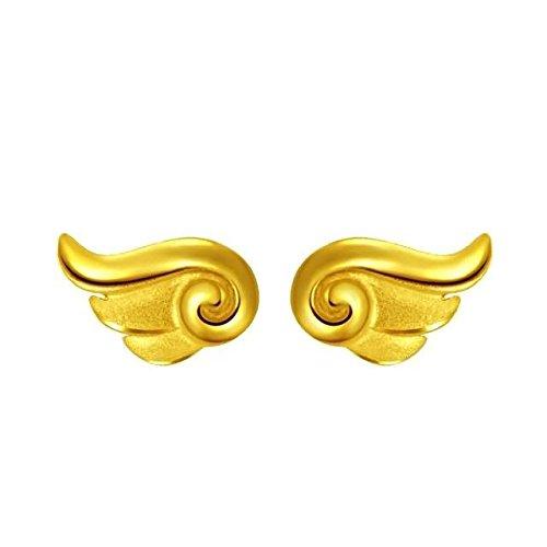 Beydodo Echtschmuck Damen Ohrringe Ohrstecker 24 Karat (999) Gelbgold Engelsflügel Gold Ohrringe Frauen für Valentinstag (Hinten Doppel-passe)