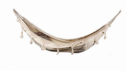 Lazy Rest Hängematte für Erwachsene - Organic Cotton Canvas - Doppelt verstärkte Seil - 120 kg Maxi - Mit 2 Kissenbezügen 61x61 cm Latte/Schokolade -