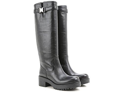 Stivali motociclista Prada in pelle di vitello nero - Codice modello: 3W5762 3OC4 F0002 - Taglia: 39 IT