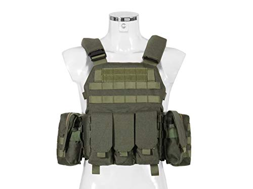 BEGADI Value Plattenträger/Plate Carrier Set aus Nylon, Komplettset mit 5 Taschen - Olive - Weste Paintball Olive