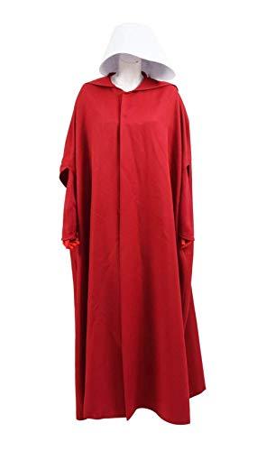 qingning Handmaid Kostüm Damen Magd Rot Kleid Umhang Robe Mantel Halloween Cosplay Bekleidung Anzug (Umhang+Kleid+Tasche+Hut, ()