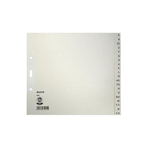 Leitz 12003085 Papierregister A-Z, A4, Papier, 20 Blatt, 5 Stück, grau